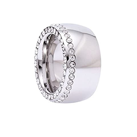 Ring Rush Edelstahl Ringe Damen strass frauen Schmuck silber gold ring Stein breite Breite Massive Rose L/20