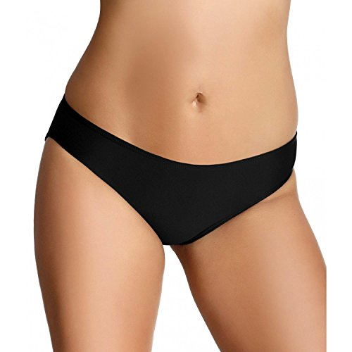Aquarti Bikini Hose Damen Badepants Slip Badeslip Panty Unifarben Gemustert, Farbe: Schwarz, Größe: 44 (Hose Slip)