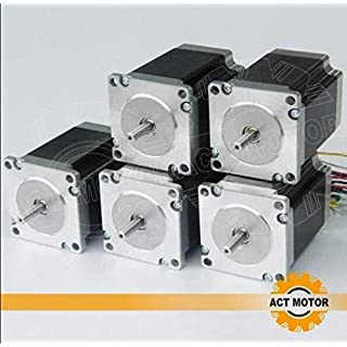 ACT Motor GmbH Nema23 5PCS 23HS8430 76mm body 3A 1.9 Nm Round Shaft Ø 6.35mm Automation 3D-Printer Carver Machine, CNC Machine