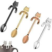 CosCosX 4 Pcs Stainless Steel Coffee Spoon Mini Cat Kitty, Tea Soup Sugar Dessert Appetizer Seasoning Bistro Spoon, Hanging Cup Spoon Kitchen Gadget ROSEGOLD SILVER GOLDEN BLACK