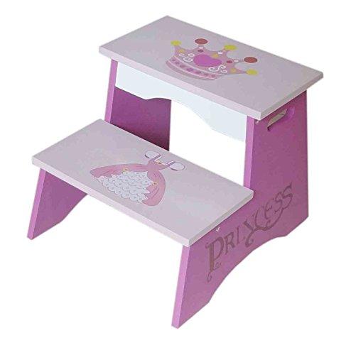 Kiddi Style Prinzessinnen Trittschemel & Kinder Treppe, zweistufig in Rosa – Mädchen Tritthocker, Badhocker & Kinderschemel im Prinzessin Design aus Holz