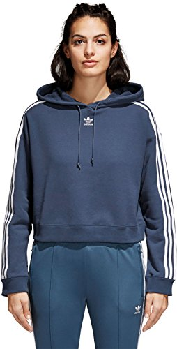 adidas Damen Cropped Kapuzenpullover, Mineral Blue, 36 (Cropped Pullover Blau)