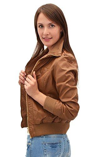 by-tex Damen Lederjacke Damen Collegejacke Damen Jacke Kunstleder in 15 Farben M08