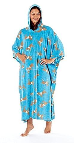 Ladies Horse Print Hooded Poncho, Designer Soft Fleece Loungewear, One Size, L71, Blue