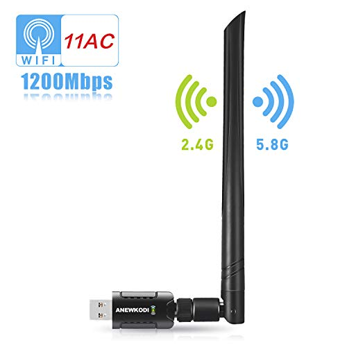 USB Wlan Stick 1200Mbit/s Wifi adaptador Dualband (5.8G/867Mbps + 2.4G/300Mbps) 802.11 ac/n/g/b/a Wireless WiFi Dongle con 5dBi antena USB 3.0 para Windows 10/8.1/8/7/VISTA, Mac OS, PC/Desktop/Laptop