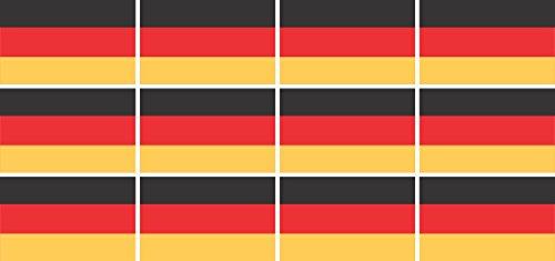 Mini Aufkleber Set - Pack glatt - 50x31mm - Sticker - Fahne - Germany - Deutschland - Flagge - Banner - Standarte fürs Auto, Büro, zu Hause und die Schule - 12 Stück