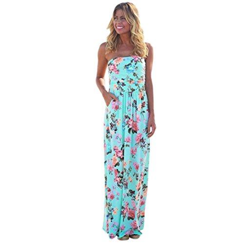 Bovake Womens Bandeau Holiday Long Dress Ladies Summer Floral Maxi Dress (M) (Floral Denim Verziert)