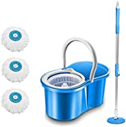 DAIVE's ABI CLEANING SOLUTIONS 360° Spin Floor Clean Bucket PVC Mop with 3 Microfiber Refill with Wheels (