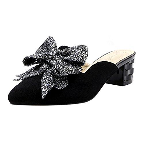 YE Damen Spitze Pantoletten Geschlossen Leder Mules mit Blockabsatz und Schleife Outdoor Slip on Schuhe