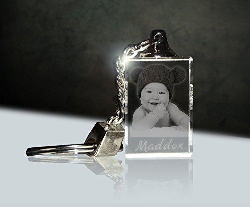 Glas Schlüsselanhänger mit Fotogravur | Dein Baby immer dabei -