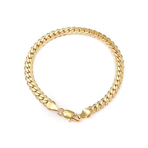 (Daimay Vergoldet Schlangenarmband Schmuck Herren Rostfreier Stahl Schlange Handgelenk Flat Gold Fischgrat Link - 6mm Breite - Gold)