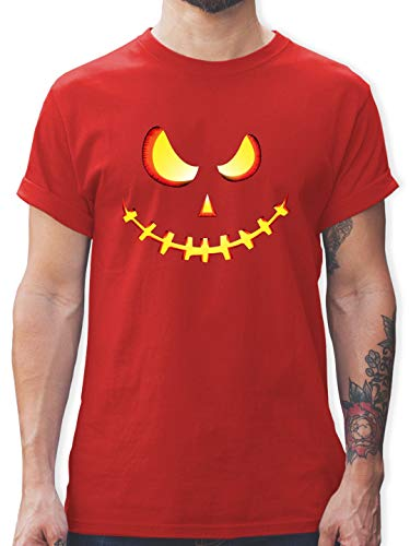 Halloween - Gruseliges Kürbis-Gesicht - S - Rot - L190 - Herren T-Shirt und Männer Tshirt