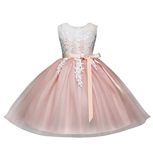 Kobay Infant Girls Embroidery Lace Floral Print Backless Princess Dress Wedding Formal Dress(Suit for 2-6 Years Girls)