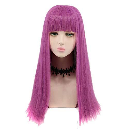 Perücken YIGEYI Nachkommen 2 Mal Cosplay Lange Gerade Haar Lila Erwachsene Frauen Mode Synthetische Kostüm Halloween Party, 65 cm (Zwei Frauen Halloween Kostüme)