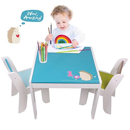 Labebe Kindertisch Holz, Blauer Igel Baby Tisch Stuhl Für 1-5 Jahre Alt, Activity Tisch/Kindersicherung Kinder Tisch/Ausziehbar Stuhl Tisch/Kinderstuhl Tisch/Babysicherung Tisch/Kindertisch Tafel