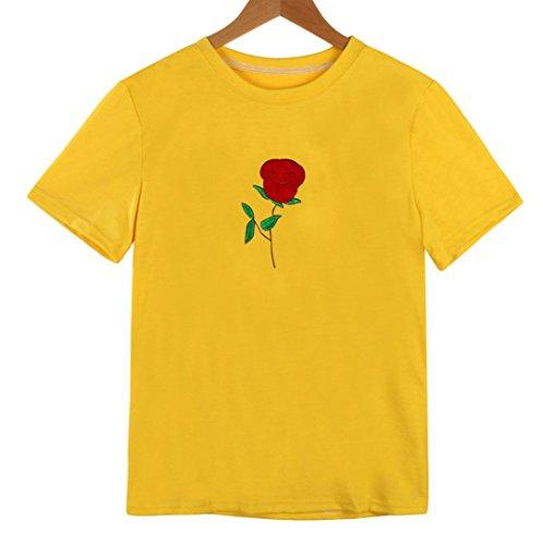 BZLine - T-Shirt été à Fleur Rose Applique en Coton - à Manches courtes - Femme Jaune