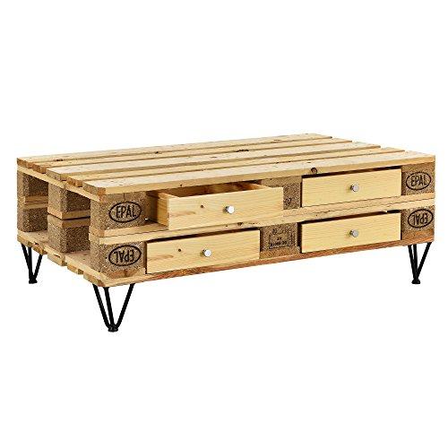 [en.casa] 4er Set Schubladen für Europaletten in Holzfarben Perfekt Integrierbar mit Führungsschienen und Befestigung Palettenmöbel