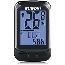 Suaoki BKV-3000 Contachilometri Bici Wireless Cadenza, 2,4G Trasmissione Display Retroilluminato,