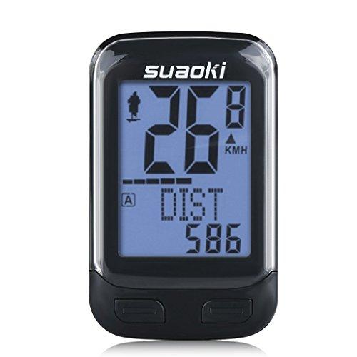 Suaoki BKV-3000 Contachilometri Bici Wireless Cadenza, 2,4G Trasmissione Display Retroilluminato, la Distanza di Tracciamento, Velocità, Tempo, Calorie, Temperatura, CO2