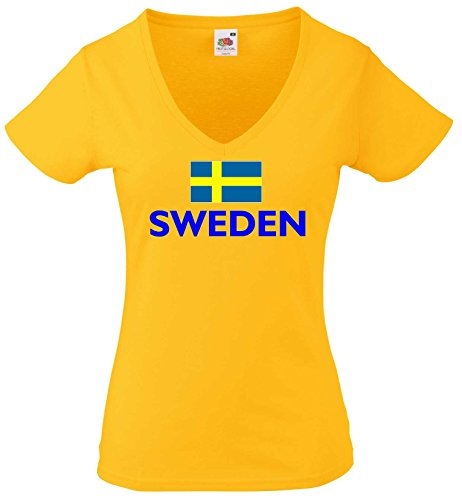 world-of-shirt Damen T-Shirt Sweden gelb von XS-XXL|g-m