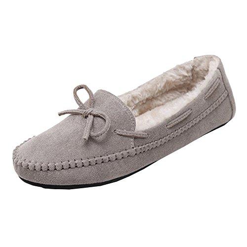 Femme Escarpins Casual Chaussures Bateau Semelle Souple Tout-match Marche Plate Mocassin Gris