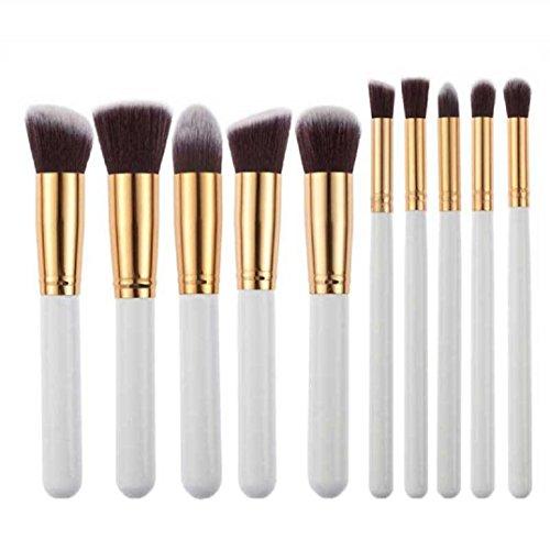 Pinceau Maquillage BZLine, 10Pcs Pinceaux Professionnel & Brush Cosmétique pour les Poudres, Anticernes, Contours, Fonds de Teints et Eyeliner - Blanc