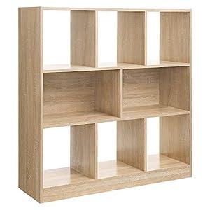VASAGLE Bücherregal, Raumteiler Regal, Standregal aus Holz mit offenen Fächern, Vitrine für Wohnzimmer, Schlafzimmer, Kinderzimmer und Büro, 97,5 x 100 x 30 cm (B x H x T), Eiche LBC52NL