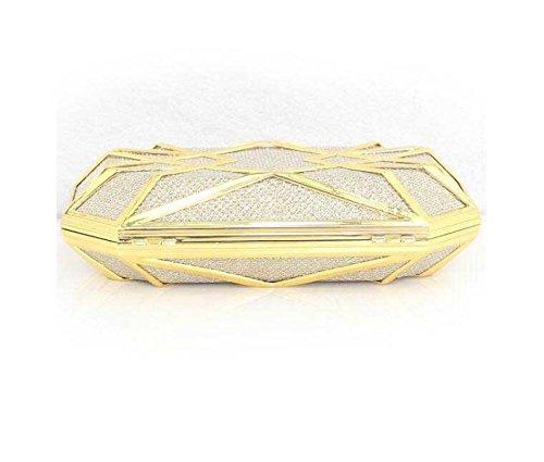 Lady Abendessen Tasche Kissenförmige Beutel Magnetische Schnalle Damen Clutch Handy Gold
