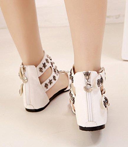 NiSeng Femmes Rhinestone Rivet Sandales Boucle De Ceinture Sandales Rome Clip Toe Sandales Blanc