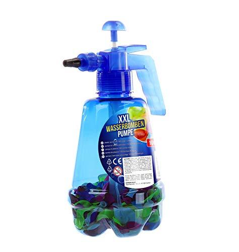 1 x Wasserbomben-Pumpe XXL m. 100 Wasserbomben Ballons Latex Höhe 29 cm, Kinder, Spielzeug, Sommer (blau)