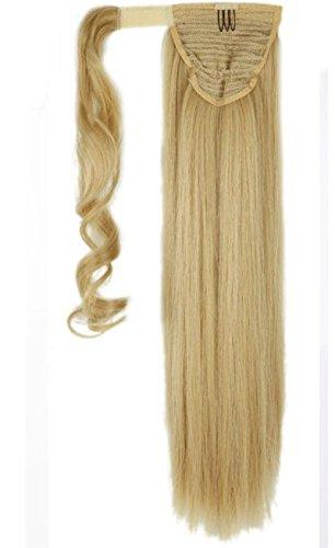 S-noilite® Haarteil Hair Piece Zopf Pferdeschwanz Glatt Haarverlängerung Clip in Hair Extensions 58cm Haar Graublond Mix Bleichmittel Blond