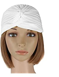 bandana Ladies Turban Band Hat Cap Hijab Headwear Wrap Hair Loss Chemo Headwrap white color