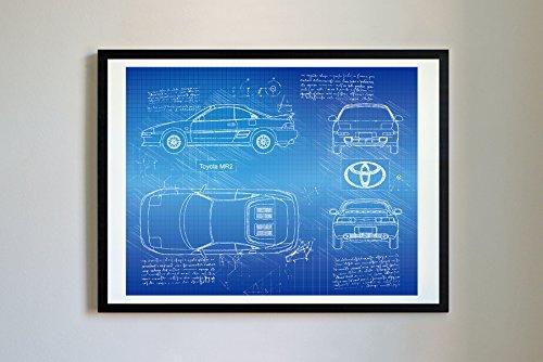 DolanPaperCo #272 Toyota MR2 1989 Kunstdruck, da Vinci Sketch - ungerahmt - Verschiedene Größen/Farben 11x14 Blueprint