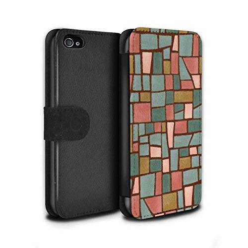Stuff4 Coque/Etui/Housse Cuir PU Case/Cover pour Apple iPhone 4/4S / Multipack (9 Pcs) Design / Carrelage Mosaïque Collection Rouge/Bleu