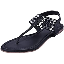 Jade Women's Synthetic Flat Fashion Sandals H2-Black-38