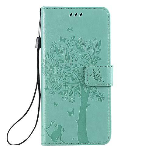 Miagon für Huawei Y5 2019 Geldbörse Wallet Case,PU Leder Baum Katze Schmetterling Flip Cover Klapphülle Tasche Schutzhülle mit Magnet Handschlaufe Strap