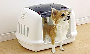 Iris Ohyama, Caisse de transport pour petit animal de compagnie - Pet Carrier and House - P-HC480, plastique, blanc, 48 × 32,1 × 30 cm