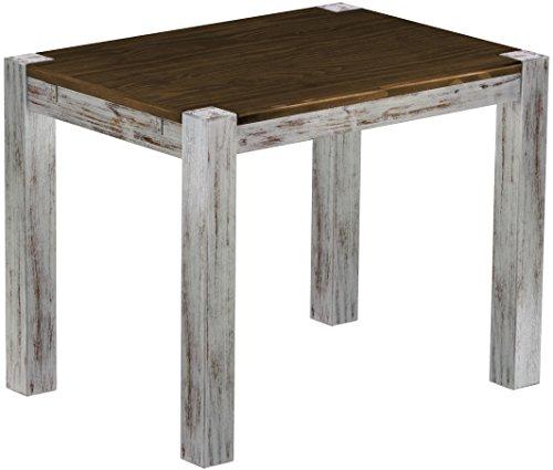 Brasilmöbel Esstisch Rio Kanto 100x73 cm Shabby Platte Eiche Pinie Massivholz Größe und Farbe wählbar Esszimmertisch Küchentisch Holztisch Echtholz vorgerichtet für Ansteckplatten Tisch ausziehbar