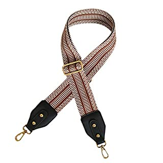 ACVIP Womens Guitar Style Adjustable Wide Shoulder Strap Belt Replacement Bag Handle Accessories (Brown with Black PU Leather)