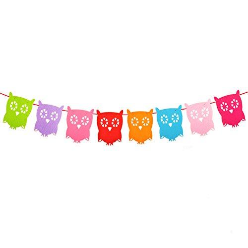 Spaufu, schöne Elefanten-Wimpelkette, Party-Girlande, Dekorations-Zubehör für Babys, Kinder, Dusche, Kinderzimmer, Kindergarten, Geburtstag, eule, 11.5*16cm (Dekorationen Baby-dusche Eulen)