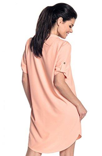 Zeta Ville - Hemd Kleid Tunika Leichtgewichtler Asymmetrischer Saum - Damen 096z Aprikose