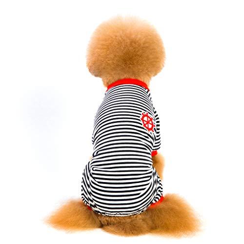Haustier Home Service, Haustier Haushaltsgegenstände, Haustier Vier-Bein Gestreifte Pyjamas Hundebekleidung, Baumwoll Hund Pyjamas, Rot-Blau Schwarz,Black,XXL