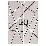 Nordic Modern Minimalist Partition Door Curtain, Cotton Linen Cloth Art Abstract Lines Halb Vorhang Küche Schlafzimmer Bad Zimmer Wohnbereich Wohnbereich,85x90cm
