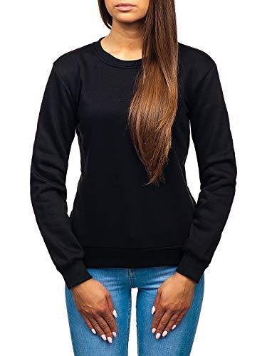 BOLF Damen Sweatshirt ohne Kapuze Aufdruck Rundhalsausschnitt Sportlicher Stil J.Style W01 Schwarz M [A1A] Schwarze Kapuze Pullover Sweatshirt