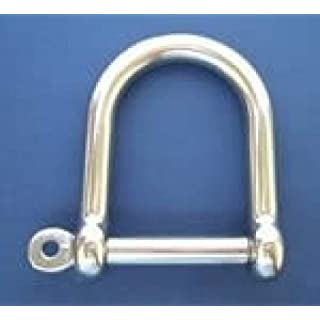 Stainless Steel wide Jaw D Shackle with Screw Collar Pin - 5mm