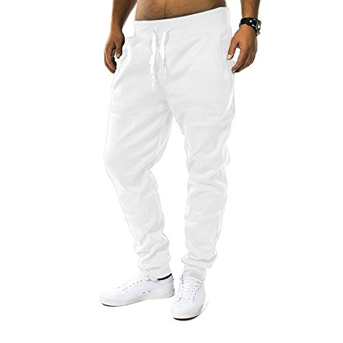 Herren Jogging Hose Fit & Home Sweat Pant Sporthose H1128,Weiß,L (Innen Bund Am)
