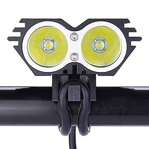 LED Luz Blanco Camping,Linterna LáMPARA para bicicletas bici CREE XM-L U2 - Luz LED frontal para manillar de bicicleta (2 focos, 5000 Lumens, 4 modos) con 2 x Luz Luces Lámpara Trasera para Bici Bicicleta (negro)