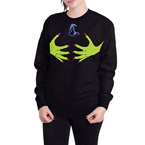MRULIC Halloween Kapuzenpullover Hoodie Damen Oversize Art Sweatshirt Festival Kostüm des Drucken 3D M-2XL (K-Schwarz,EU-L)