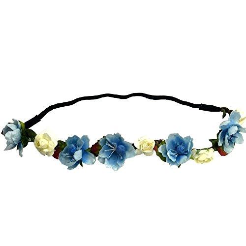 Good.news Blumem geflochten Stirnband Boheme Blumen Kopfband Hippie Haarband (Hellblau)