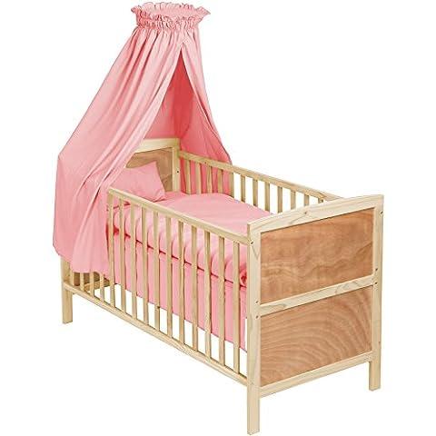 TecTake Cama de bebé con dosel cuna infantil madera rosa